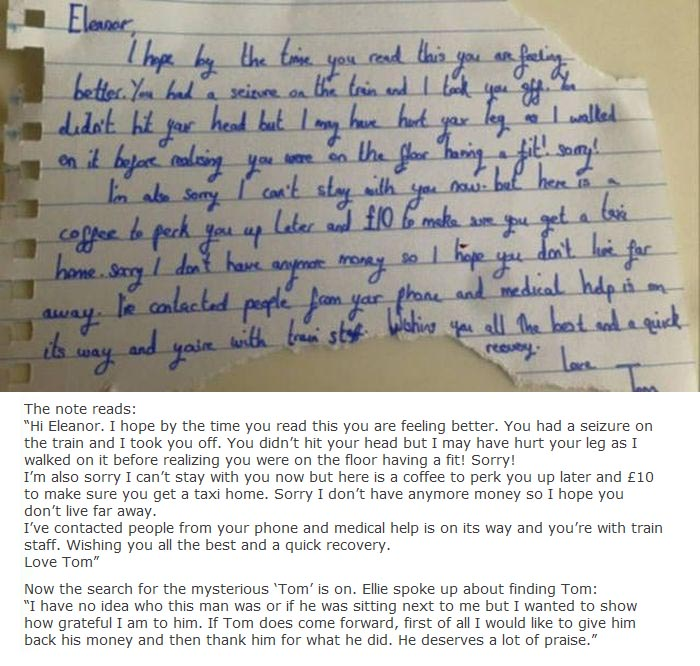 Man Leaves Heartwarming Note For Girl Who Had A Seizure On The Train (3 pics)
