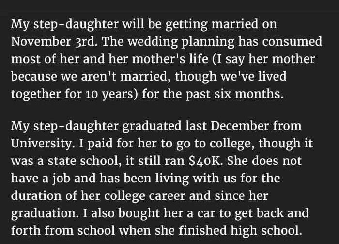 Step Dad Stops Funding His Step Daughter's Wedding For A Good Reason (6 pics)