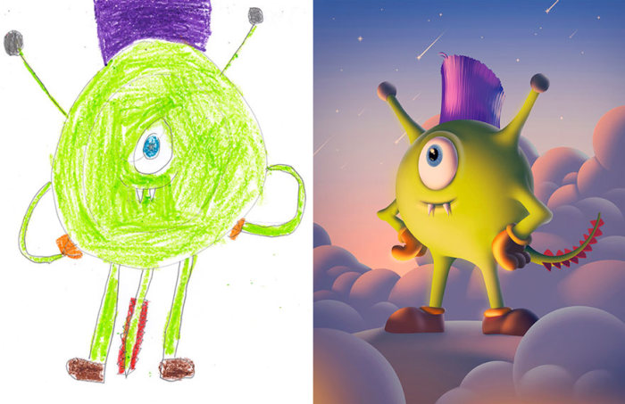 Artists Turns Kids' Monster Doodles Into Works Of Art (26 pics)