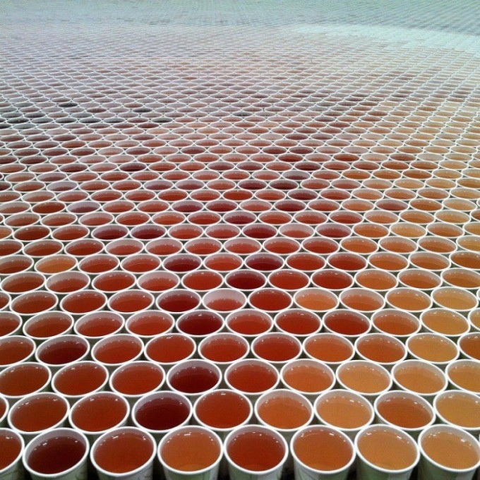 Artist Uses 66,000 Paper Cups To Create A Massive Mosaic (4 pics + video)