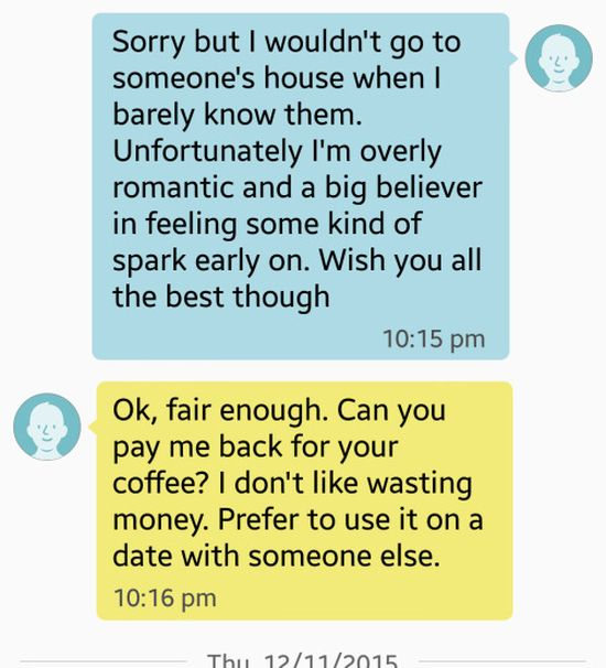 Man Makes Woman Pay For Her Own Coffee After Their Date Goes Bad (4 pics)