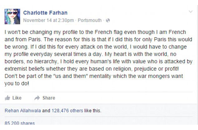 Woman Reveals Her Reason For Not Changing Her Profile Picture To Support Paris (7 pics)