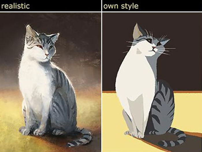 Artist Imitates Several Different Art Styles While Drawing Her Cat