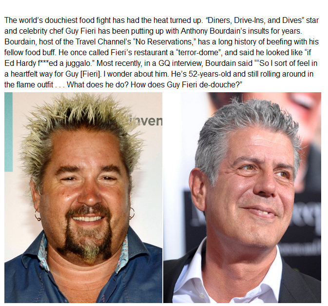 The Feud Between Guy Fieri And Anthony Bourdain Continues To Heat Up (2 pics)