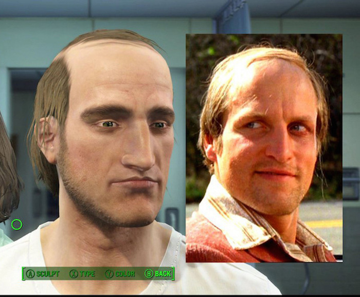 Pixelated celebrity faces in fallout