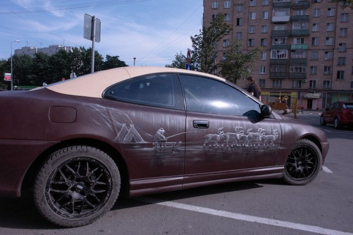 Moscow Is Home To A Car Made Almost Entirely Out Of Leather (6 pics)