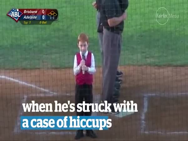 Boy Sings Anthem Through Hiccups