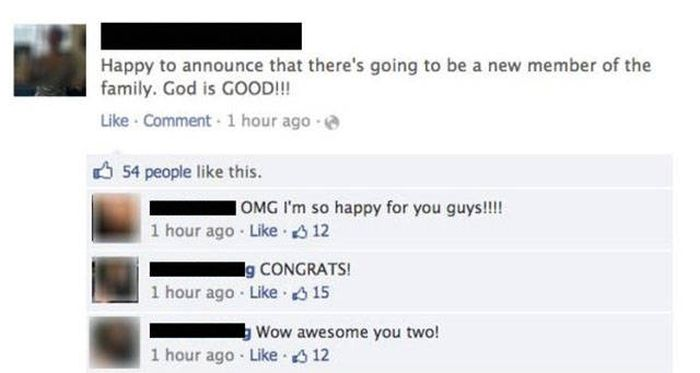 Facebook Pregnancy Announcement Ends With An Awkward Twist (4 pics)