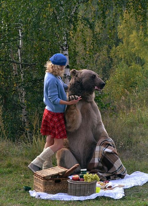 Mother And Daughter Enjoy An Outdoor Picnic With A Giant Bear (16 pics)