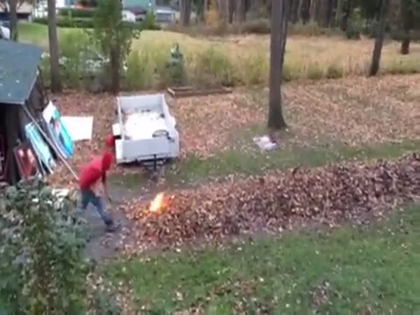 Guy Has A Unique Way To Make Yard Work Fun