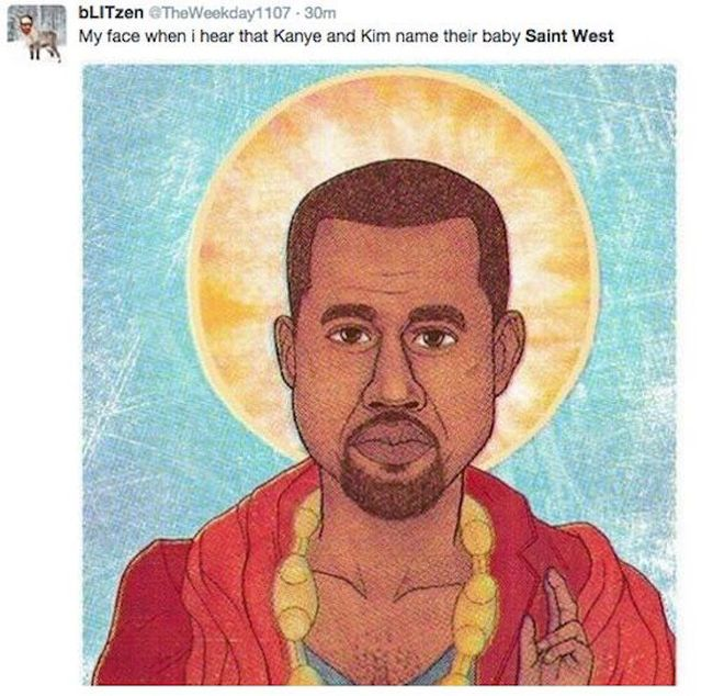 Here Are The Internet's Funniest Reactions To Kanye And Kim's New Baby Name (24 pics)