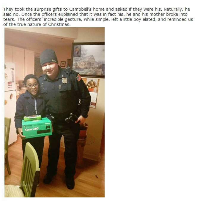 Two Police Officers Stepped Up When This Young Boy's Xbox Got Stolen  (4 pics)