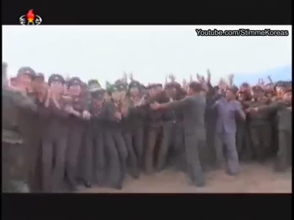 North Koreans Running Besides Kim Jong Uns Bus