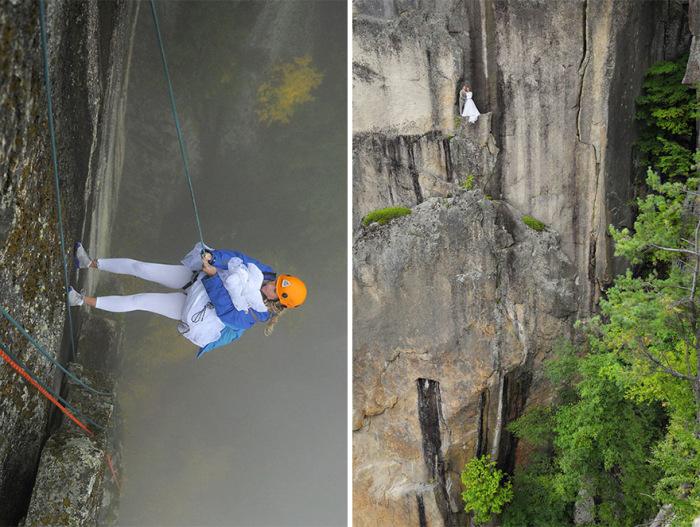 Couple Takes Extreme Wedding Photos On The Edge Of A Cliff (12 pics)