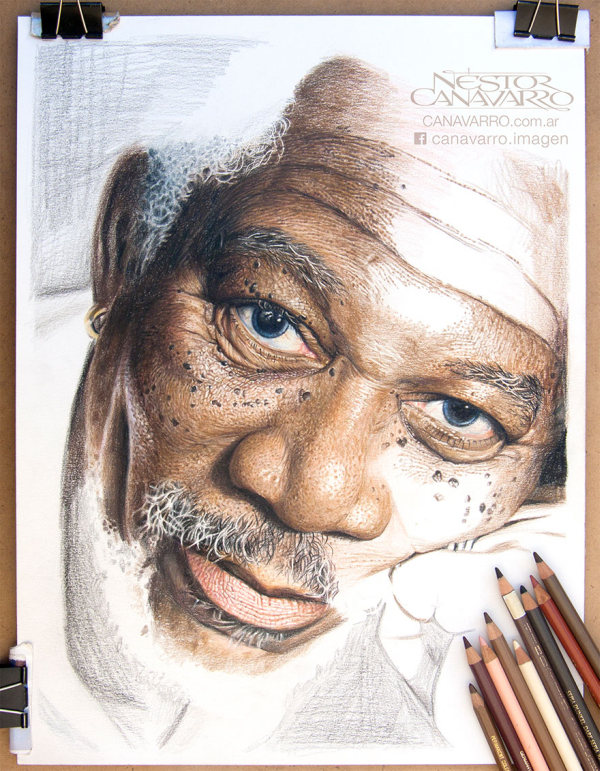 Artist Spends 50 Hours Drawing A Portrait Of Morgan Freeman With Colored Pencils (5 pics)