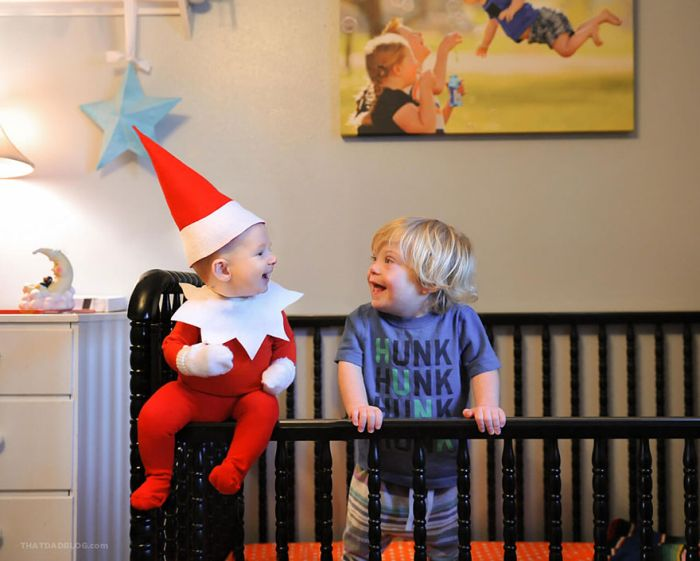 Dad Turns His Four Month Old Son Into An Elf On The Shelf (10 pics)
