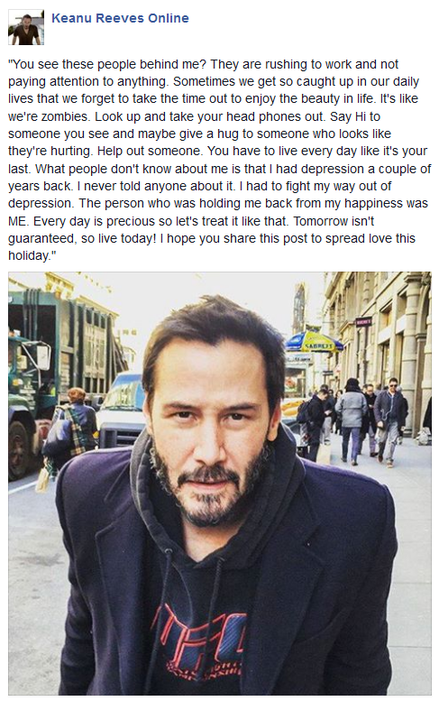 Keanu Reeves Drops Some Serious Wisdom On The World (2 pics)