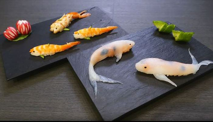 How To Make Sushi Look Like Real Life Koi In Just A Few Steps (15 pics)