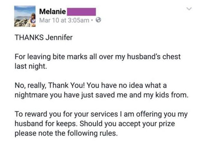 Wife Writes Brutal Letter To Her Cheating Husband's Mistress (8 pics)