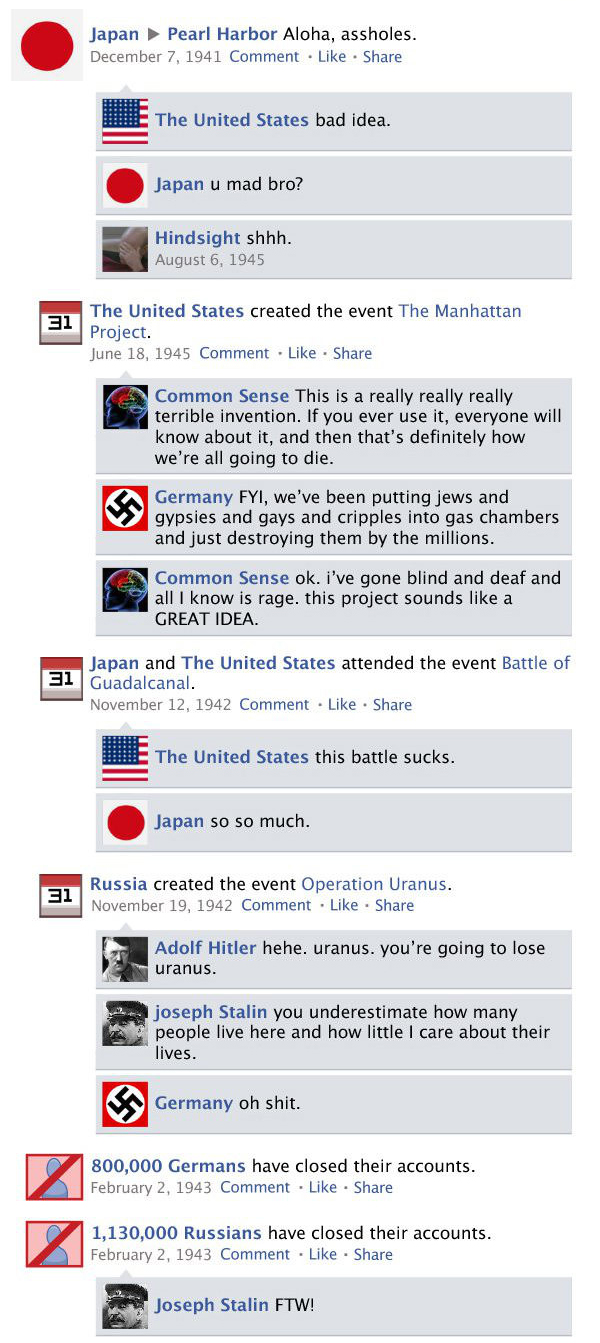 What Facebook Would Look Like If Social Media Was Around During World War II  (9 pics)
