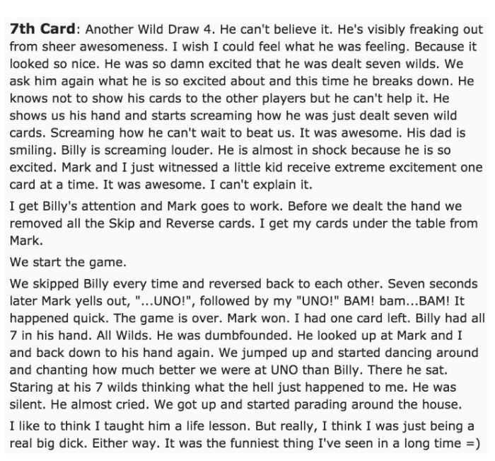 The Funniest Story In The History Of The Card Game Uno (4 pics)