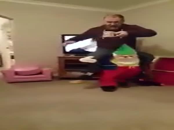 Funny Dad Has A Little Fun Walking Around The House On The Shoulders Of A Gnome