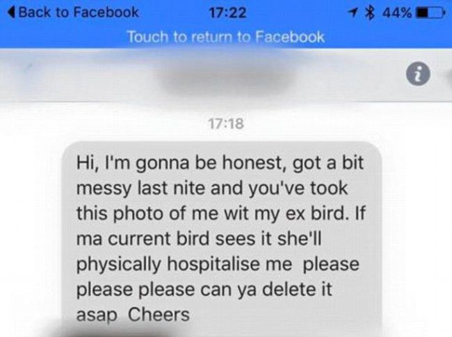 Cheating Boyfriend Begs Nightclub To Take Down A Picture Of Him In The Act (2 pics)