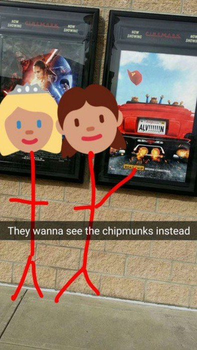Dude Creates Epic Snapchats As He Takes His Imaginary Date To See Star Wars (17 pics)