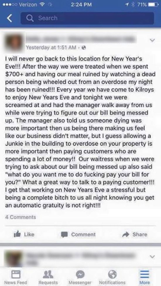 Restaurant Manager Puts Obnoxious Customer In Her Place On Facebook (4 pics)