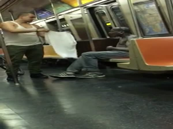 Good Guy And Homeless In The Subway