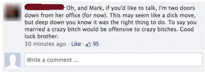 Crazy, Psycho, Cheating Wife Gets Called Out On Facebook (4 pics)