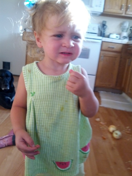 Little Girl Gets A Big Surprise After Biting What She Thought Was An Apple  (5 pics)