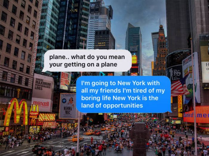 Son Tricks His Mom Into Thinking He's Flying To New York City (3 pics)