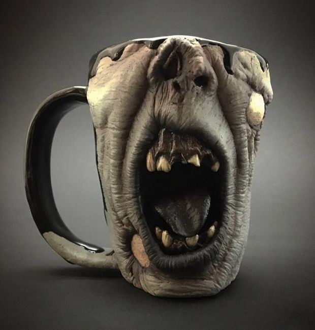 Now You Can Enjoy A Cup Of Coffee As You Drink It From A Zombie Head (10 pics)