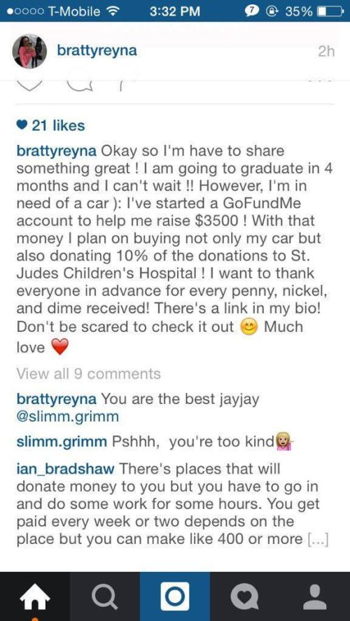 Girl Gets Ripped On After Starting A GoFundMe Page To Pay For Her New Car (4 pics)