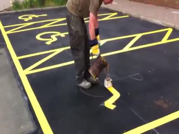Painting Handicap Parking Signs
