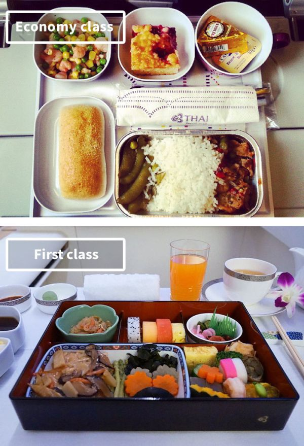 The Difference Between Airline Food In First Class Vs. Economy (19 pics)