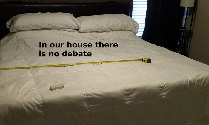 Husband Finds An Impressive Solution To The Side Of The Bed Debate (3 pics)