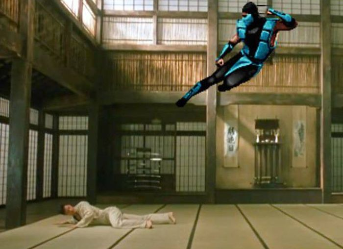 Mortal Kombat Characters Face Off Against People In Real Life (14 gifs)