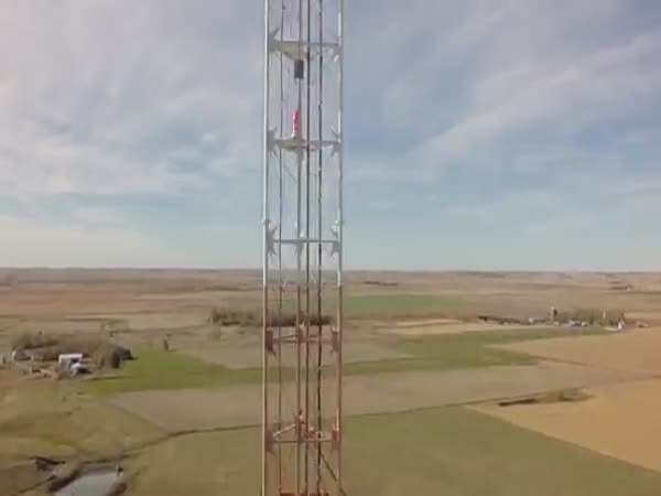 Spectacular Drone Footage Of A TV Tower Repairman