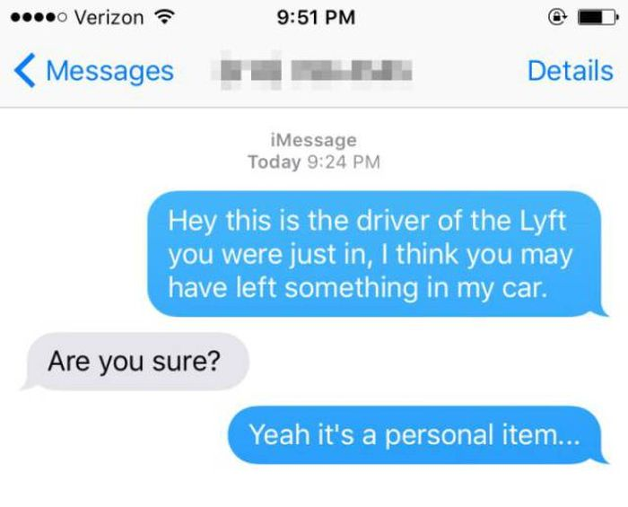 Girl Gets Embarrassed After Leaving A Personal Item In A Lyft Driver's Car (4 pics)