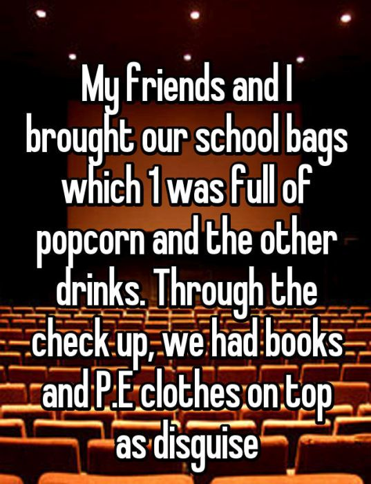 Whisper Users Reveal Their Methods For Sneaking Food Into A Movie Theater (17 pics)