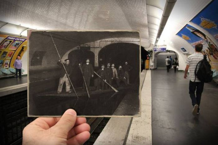 Old Photos Of Paris Meet New Photos In This Interesting Look At History (16 pics)