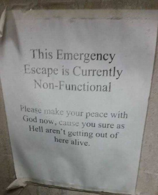 Well This Emergency Exit Isn't Going To Be Much Help (3 pics)