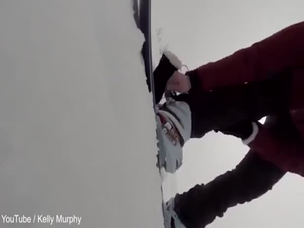 Snowboarder Chased By Bear