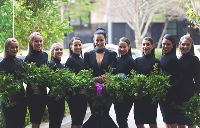 Bride Does Something Different And Walks Down The Aisle In A Black Wedding Dress (10 pics)