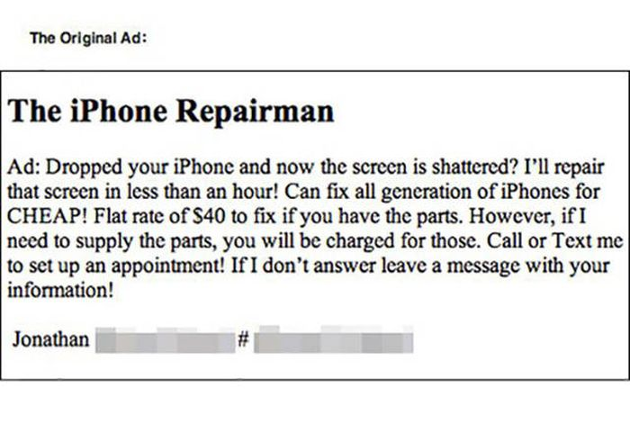iPhone Repairman Gets Trolled By A Crack On The Screen (4 pics)
