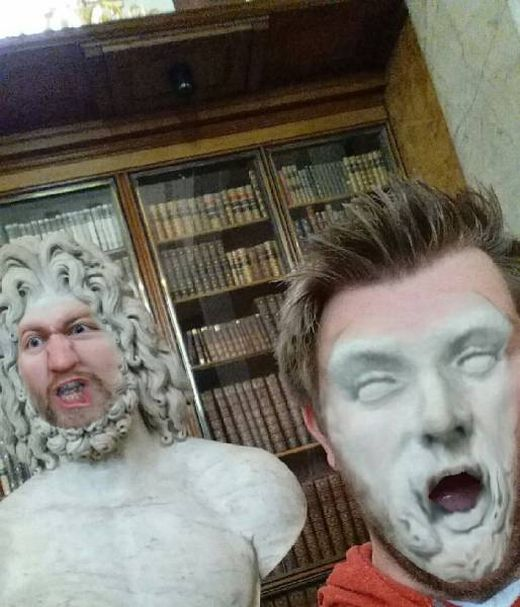 Guy Does Hilariously Creepy Face Swaps With Statues In A Museum (11 pics)