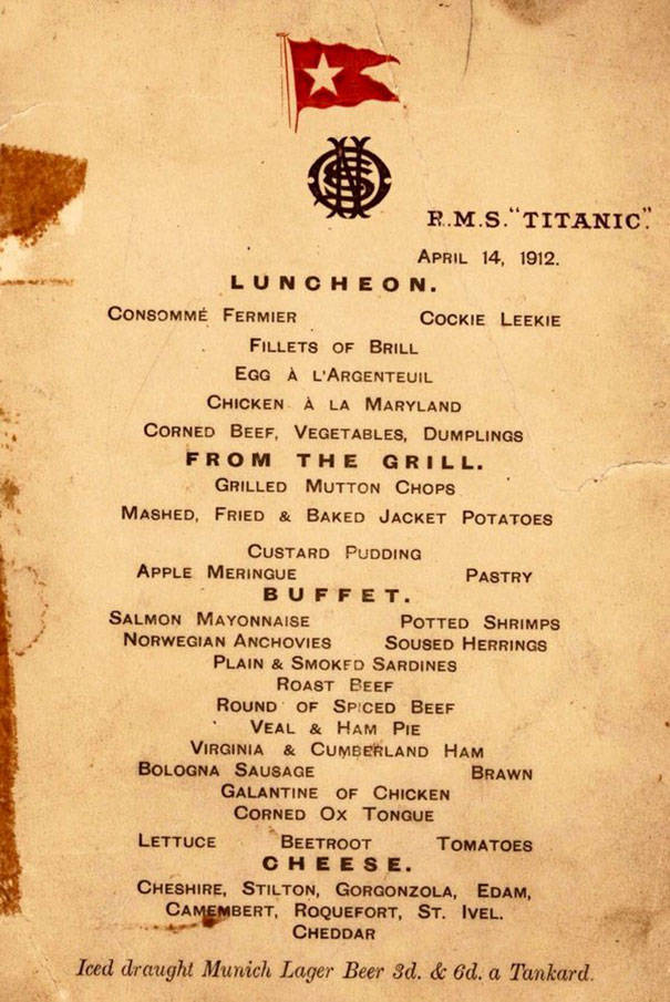 Menus From The Titanic Show Food Selections For All The Passengers On Board (7 pics)