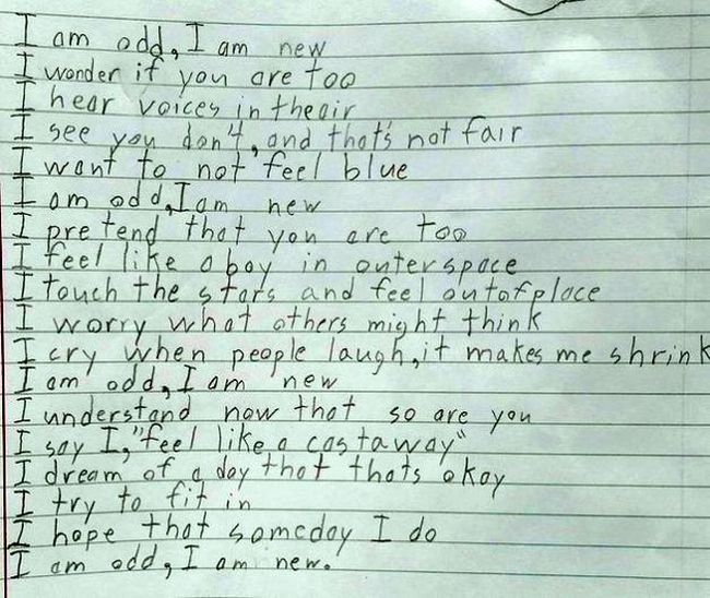 Talented Boy Writes Touching Poem About Asperger's Syndrome (2 pics)